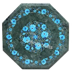 16 Inches Green Marble Coffee Table Top Inlay Turquoise Stone End Table for Home