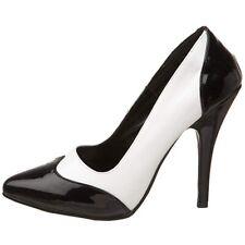 Pleaser Seduce 425 Black White Patent Court Shoes Size UK 2