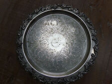More details for sheridan silver plated copper round grape leaf ornate 14'' engraved footed tray