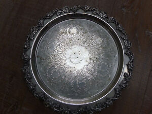 Sheridan Silver Plated Copper Round Grape Leaf Ornate 14'' Engraved Footed Tray
