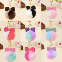 Soft Cute bow Rabbit Fur Ball PomPom Phone Car Pendant Handbag Key Ring Chain Sc