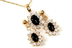 9ct Gold Black Onyx and CZ cluster Pendant and Earring Set Made in UK Gift Boxed