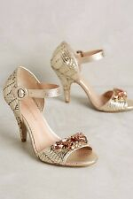 NEW Anthropologie Raphaella Booz Caro Heels Gold Leather - Size 8