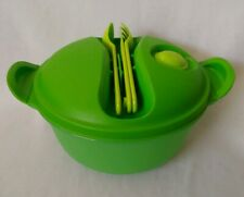 TUPPERWARE MICROWAVE CYSTALWAVE GREEN CONTAINER BOWL W/ UTENSILS
