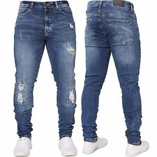 New ENZO Mens Skinny Super Stretch Fit Ripped Denim Jeans All Waist Blue Black