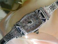 1927 Ladies Art Deco 14K Sapphire Watch ~ Sapphire Filigree Band