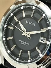 Bulova Precisionist 96B158 Men's Black Dial Leather Strap Quartz Date Watch