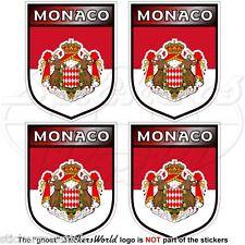 """MONACO Principato Scudi Adesivi in Vinile per Auto-Casco 50mm (2"""") Stickers x4"""