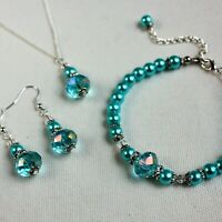 Turquoise blue pearls crystals necklace bracelet earrings wedding bridesmaid set
