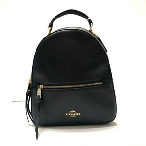 Auth COACH F76622 Black Brown Dark Brown Leather PVC Backpack