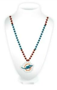 NFL Miami Dolphins Mardi Gras Beads With Medallion Necklace