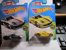 "2016 Hot Wheels ""Zamac"" #74 Porsche Carrera GT, & YELLOW PORSCHE CARRERA"