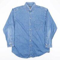 Vintage WOOLRICH Made In USA Blue Lightweight Denim Shirt Men's Size Large