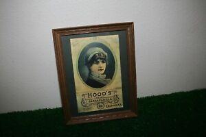 Framed Hood's Sarsaparilla Calendar Replica Advertising Girl Victorian
