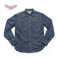 NON STOCK Wabash Stripe Work Shirt Vintage Denim Railway WorkShirts For Men