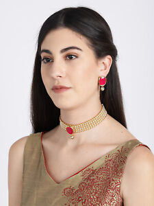 Indian Bollywood Gold Plated Ruby Kundan Pearl Choker Necklace Earring Jewelry