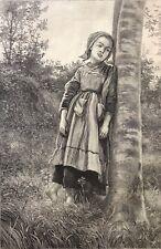 Frederick John Skill 1824-1881 Une matinée de printemps 1875 fille Bretagne