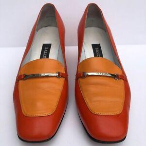 Retro Bally Women's Chunky Heel Square Toe Orange Loafer Style Shoes UK 4 1/2