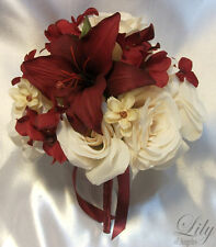 17pcs Wedding Bridal Bouquet Flowers Bride Bridesmaid Boutonniere Ivory/Burgundy