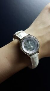 ANNE KLEIN WOMENS STAINLESS STEEL AND GENUINE LEATHER AUTOMATIC WATCH-WHITE