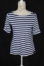 Karen Scott Womens XS Navy Blue White Striped Boat Neck 3/4 Sleeve T-Shirt NEW