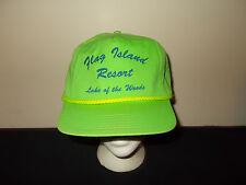VTG-1990s Flag Island Resort Lake of The Woods fishing rope zip back hat sku14