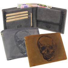 Leather Biker Purse Wallet Skull Vintage Rfid Grey Braun