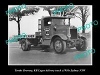 OLD 8x6 HISTORIC PHOTO OF TOOTHS BREWERY KB 8x6R DELIVERY TRUCK c1930s NSW 1