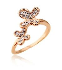 Gold Two Butterflies Rhinestone Rings medium size O / 7 FR41G