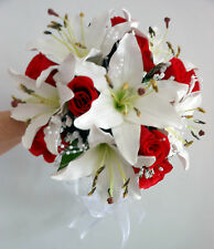 Wedding Bouquet, Real Touch Ivory Lillies & Red foam roses with pearl spray
