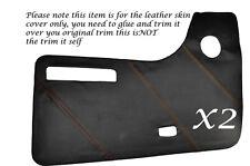 ORANGE STITCH 2X DOOR CARDS LEATHER SKIN COVERS FITS VW T2 WESTFALIA CAMPER