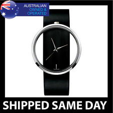 WOMENS MINIMAL FASHION DRESS WATCH Ladies Faux Leather Black Red Gold Silver  D1