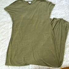 LuLaRoe Maria Military Green Slip On Lagenlook Boho Oversized Maxi Dress NWOT XL