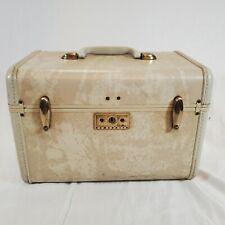 Vintage Samsonite Streamlite Train Case Ivory Color Mirror Tray Key USA Luggage