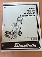Simplicity Parts Manual - Model 450 Snowthrower