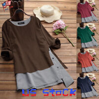 Women's Tops Loose Color Block Striped Buttons Casual T-Shirts Swing Blouse US