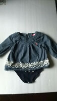 US Polo Assn Baby Denim-Look Dress One Piece 3/6 Months White Floral trim