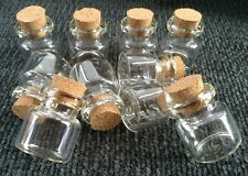 10 Mini Glass Bottles/Jars/Vials With Cork Stopper Size 25mm x 22mm.  (J)