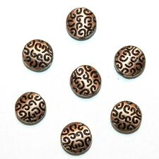 MB3126p Antiqued Copper 7mm Flat Round Swirl Texture Metal Bead 25/pkg