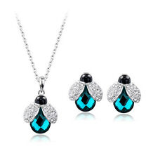 18K WHITE GOLD PLATED CZ & AUSTRIAN CRYSTAL EMERALD NECKLACE & EARRING SET