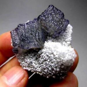 25g Blue-Green Fluorite Cluster on Quartz Matrix, Yongchun, Fujian, China 01/06