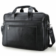 """Men Durable Leather 17"""" Laptop Briefcase Luggage Messenger Shoulder Bag Satchel"""