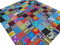 Patchwork Bedspread Quilt King Block printed Blanket Floral India Boho Cotton