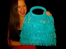 RARE! Kate Spade Hula Bag Ida AQUA TEAL LEATHER FRINGE FLIRTY! Tote PURSE BAG