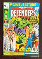 Marvel Feature 1. 1st Defenders. Neal Adams cover. Nice Copy.