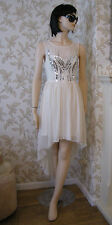 14 LIPSY DRESS CREAM SEQUIN DIP HEM FLOATY CHIFFON WEDDING SUMMER BRIDESMAID