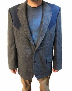 Vtg Brad Whitney Rockabilly Western blue suede wool mens suit jacket coat sz XL