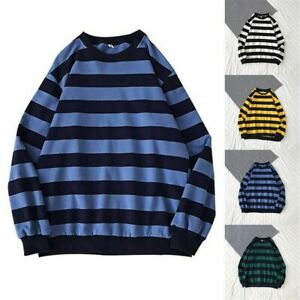 Mens Striped Long Sleeve Tee Shirts Vintage Motorcycle T-Shirt Casual Baggy Tops