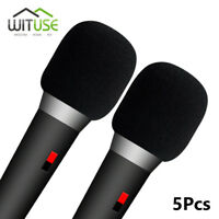 HANDHELD MICROPHONE WINDSCREEN MIC COVER SOFT WINDSHIELD FOAM SPONGE BLACK 5 PCS