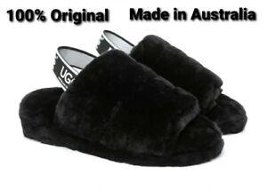 100% UGG Sandal Slipper Women Fluffy Slide Puffy Wool Black AU 7/EU 38